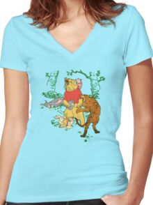 Winnie the Pooh bear gone crazy Women's Fitted V-Neck T-Shirt
