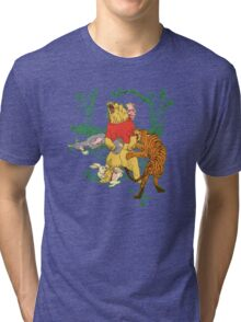 Winnie the Pooh bear gone crazy Tri-blend T-Shirt