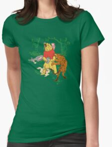 Winnie the Pooh bear gone crazy Womens Fitted T-Shirt