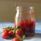 Strawberry marmalade in a glass jar by DonatellaLoi