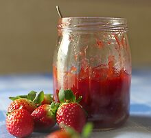 Strawberry marmalade in a glass jar by DonatellaLoi