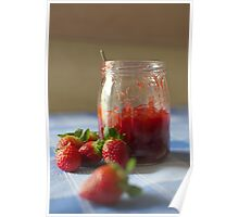 Strawberry marmalade in a glass jar Poster