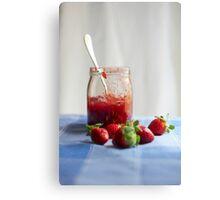 Strawberry in a glass jar Canvas Print
