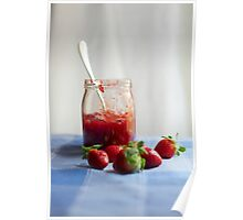 Strawberry in a glass jar Poster