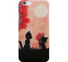 Cats Silhouette: Mother Cat and Kitten with Red Flowers iPhone Case/Skin