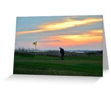 Eighteenth Green at Sunset Greeting Card