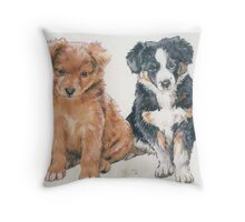 Australian Shepherd Puppies Throw Pillow
