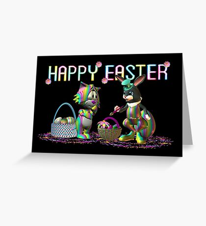 Easter Rabbit going crazy with a paint brush Greeting Card