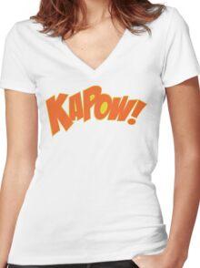 KAPOW Women's Fitted V-Neck T-Shirt