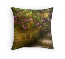 Clematis and Stairs Throw Pillow