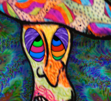 Shroomery #3 by CAP - Vibrant Psychedelic Mushroom Character Colorful Design Sticker