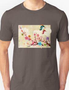 Peach Blossoms and Birds Unisex T-Shirt