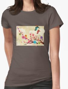 Peach Blossoms and Birds Womens Fitted T-Shirt
