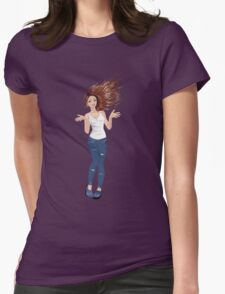 Girl in Casual Style  2 Womens Fitted T-Shirt