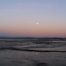 full moon, Morecambe Bay by lukasdf
