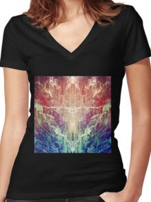 Forest Prism Women's Fitted V-Neck T-Shirt
