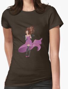 Girl in Flowing Dress Womens Fitted T-Shirt