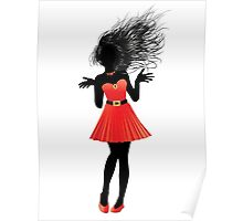 Girl in red dress Poster
