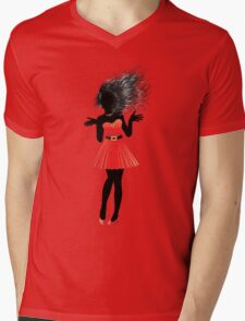 Girl in red dress Mens V-Neck T-Shirt