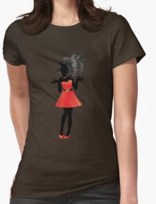 Girl in red dress Womens Fitted T-Shirt