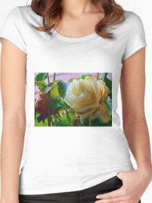 Fading white rose 2 Women's Fitted Scoop T-Shirt