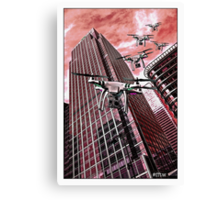 Red swarm over Canary Wharf by #fftw Canvas Print