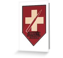 Juggernog logo; Bring it on, Ankle-biters! Greeting Card