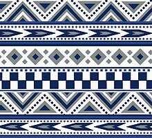 Geometric pattern Navy and silver by tjc555