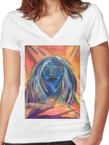 Night Mask Women's Fitted V-Neck T-Shirt
