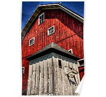 Red Barn with White Shed Poster