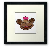 cartoon style monkey head Framed Print