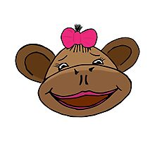 cartoon style monkey head Photographic Print