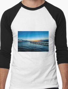 Sunset over the Slovenian Coastline Men's Baseball ¾ T-Shirt