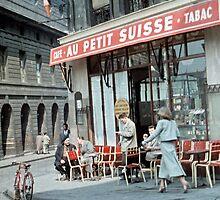 Vintage Paris Street Life 1956 Petit Suisse by Netsrotj