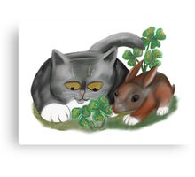 Bunny and Kitten Find Four Leaf Clover Canvas Print