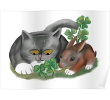 Bunny and Kitten Find Four Leaf Clover Poster