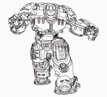 Tony Stark's Hulkbuster Suit Armour , Black outline no fill Kids Clothes