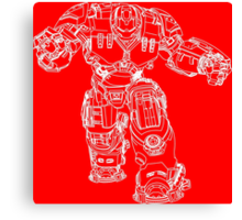 Tony Stark's Hulkbuster Suit Armour , White outline no fill Canvas Print