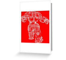 Tony Stark's Hulkbuster Suit Armour , White outline no fill Greeting Card