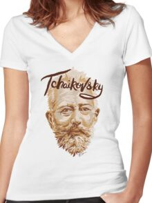Tchaikovsky - classical music composer Women's Fitted V-Neck T-Shirt