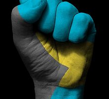 Flag of Bahamas on a Raised Clenched Fist  by Jeff Bartels