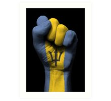 Flag of Barbados on a Raised Clenched Fist  Art Print