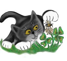 Kitten Chases a Bee over the Clover by NineLivesStudio