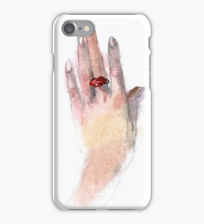 Red lips ring iPhone Case/Skin