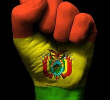 Flag of Bolivia on a Raised Clenched Fist  by Jeff Bartels