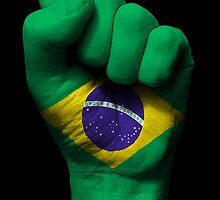 Flag of Brazil on a Raised Clenched Fist  by Jeff Bartels