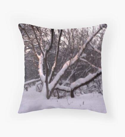 A Snowy Scene Throw Pillow