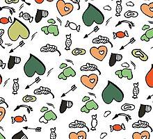 Vector  hearts , arrows, candy patterns by handik