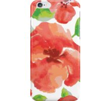 watercolor red flowers with green leaves iPhone Case/Skin