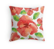 watercolor red flowers with green leaves Throw Pillow